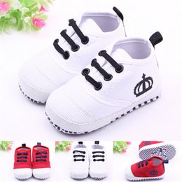 Wholesale Crochet Crowns For Babies - Baby Shoes Boys Girls Cotton Crown Prewalker Infant Soft Sole Baby First Walker Toddler Shoes Sports Sneakers for Baby Bebe