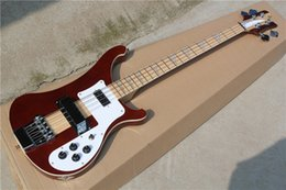 Wholesale The String Claret red Electric Bass with White Pickguard Neck Through Body Can be Changed as Request