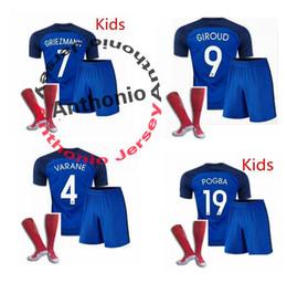 Wholesale KIDS FRANCE MAILLOT DE FOOT PAUL POGBA GRIEZMANN CABAYE BENZEMA PAYET soccer jersey camisetas futbol thai thailand quality football jerseys