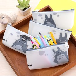 Wholesale totoro pencil vintage stationery students anime pen box pouch bag bags school canvas Korea cute cheap art supplies stationery