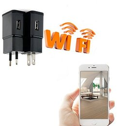 Wholesale HD P WIFI Spy Camera AC Plug USB Wall Charger with GB Memory Mini DVR DV Hidden Camera Video Recorder For iPhone Android phone PC