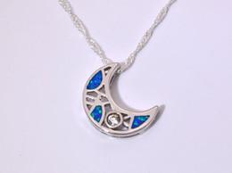 Wholesale & Retail Fashion Jewelry Fine Blue Fire Opal Stone Silver Plated Pendants For Women PJ16011714
