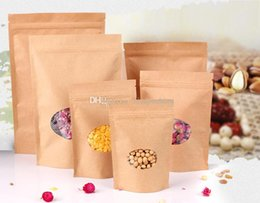 100pcs lot nice quality Moisture-proof Bags,Kraft Paper Stand UP Bag with round window, Ziplock Packaging for Snack Candy