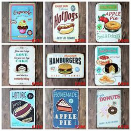 Wholesale Food Cake Pie HOT DOG Vintage Craft Tin Sign Retro Metal Painting Antique Iron Poster Bar Pub Signs Wall Art Sticker x30CM ZA1534