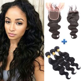 Peruvian Body Wave Remy Human Hair 3 bundles With 4*4 Lace Closure Free Part With Baby Hair Curly Natural Color Bleached Knots