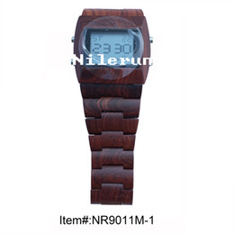 handmade natural red sandalwood electronic wrist watch