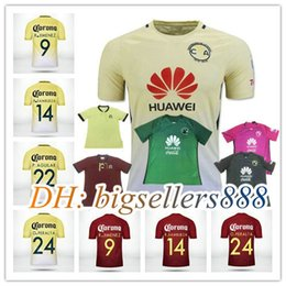 Wholesale Top Thai quality anniversary black America jersey soccer home yellow away Mexico club RD third purple Football Shirt
