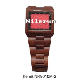 brand square red sandal wood wristwatch