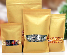 nice quality Kraft paper bag flat bottom with window packaging bag leisure food packaging snack tea nuts powder free shipping 100pcs lot