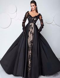 2017 evening High-end custom abendkleid-partei-kleid Saudi-arabien Sexy Schwarz Abendkleider mit langen ärmeln Illusion Spitze Formale Klei