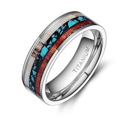 8mm Deer Antlers Wedding Ring Titanium Turquoise Wood Inlaid Flat Rings for men Size 6-12