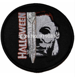 "3"" Halloween Movie Michael Myers Face and Knife Name Patch TV Movie Film Series Applique Costume Embroidered iron on Cosplay"