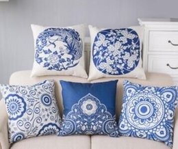 Wholesale Phoenix China wind folk style of blue and white porcelain imitation silk flower of life with the other core activities Home Furnishing pillo