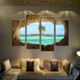 4 Panel Combination No Frame Cave and Island Giclee Seacape Painting Wall Art Picture Print On Canvas For Home Decoration (Wholesale,2size)