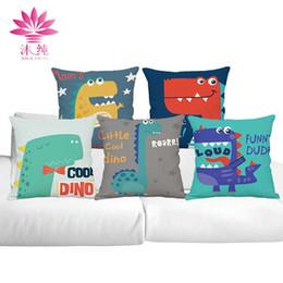 muchun Brand Cartoon Dinosaurs Halloween Cotton&Linen Sofa Pillow Cover 45*45 cm Christmas Throw Thicken Home Party Decorative Pillow Case