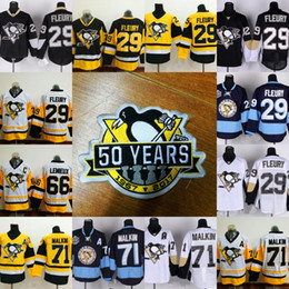 Wholesale 50 Years Patch Pittsburgh Penguins Jersey Men s Mario Lemieux Evgeni Malkin Marc Andre Fleury Patric Hornqvist Hockey Jerseys