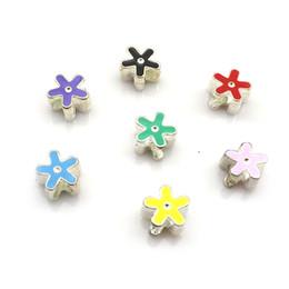 Cute Enamel Flower Charm Beads Fit DIY, 100pcs Mixed Colors Big Hole Beads, Metal European Beads