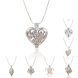Wholesale Fashion Necklace kgp love wish pearl gem beads locket cages lovely DIY charm pendant Necklace mix style