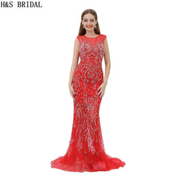 Vintage Evening Dress Luxury Beaded Mermaid Red Fomal Evening Gowns Sheer Neck Crystals Prom Dresses B002