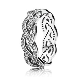 Wholesale Authentic Sterling Silver Ring Eternity Sparkling Braided Crystal Ring For Women compatible with Pandora jewelry HRA0095
