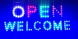 Wholesale Open Welcome LED Light Animated Neon Sign size x19 inch semi outdoor advertising Plastic PVC frame Display