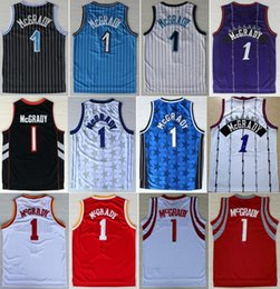 Wholesale Hottest Men Tracy McGrady Jersey Throwback Cheap McGrady Vintage Basketball Jerseys Retro All Stitching Black Blue White Purple Red