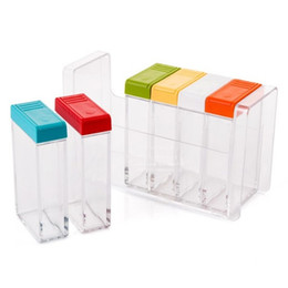 Discount salt boxes - Kitchen Cooking Transparent Plastic Seasoning Jars Salt Sugar Spice Storage Rack Colorful Flavouring Box Condiment Pot Case Sets