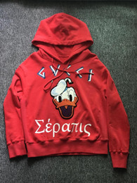 Canada 2017 Dernier Anime Donald Duck patch Broderie rouge Pullover Hoodies femme Hipster Sweatshirt Funny Brand Vêtements Cool Custom men Outerwear duck custom promotion Offre