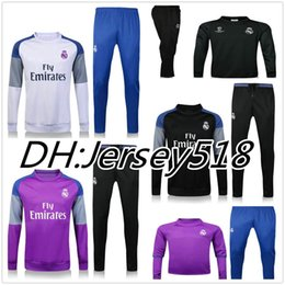 Wholesale 2016 Real Madrid tracksuits RONALDO JAMES BALE RAMOS MODERIC best quality long sleeve tracksuit training jacket