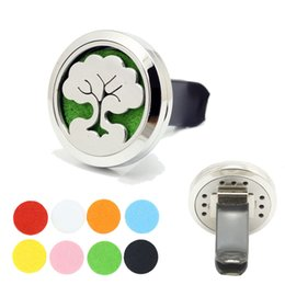 Wholesale Car Air Freshener L Stainless Steel Tree Of Life mm Round Magnetic Locket Aromatherapy Essential Oil Diffuser Vent Clip With Refill Pad
