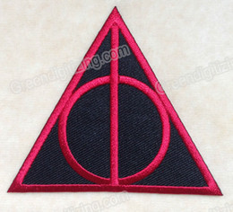 Movie HARRY POTTER DEATHLY HALLOWS LOGO EMBROIDERY IRON ON PATCH BADGE #RED DIY Applique Embroidered Badge Free Shipping