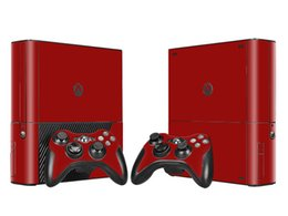 Cool Wine Red Skin Sticker Vinyl Decals for Xbox 360 E Protective Console Skin+2 Pcs Controller Cover Skin Sticker