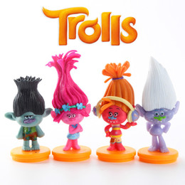 Wholesale 4Pcs Set Trolls with Pedestal cm Action Figures Toys Cake Topper Kids Children Birthday Gift Toys Christmas Gifts