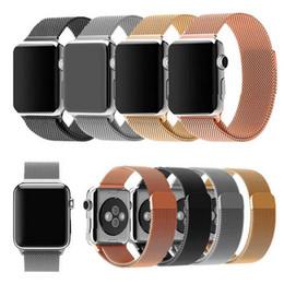 Descuento bandas de acero inoxidable enlaces Milanesa Loop Watch Strap Hombres Link Pulsera De Acero Inoxidable Tejido Negro Magnetic Watch banda de la caja para la banda de reloj de Apple 42mm 38mm iWatch