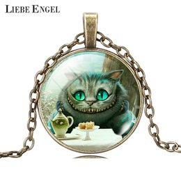Wholesale Vintage Silver Bronze Statement Necklace Fashion Cat Air Picture Collares Glass Cabochon Pendant Necklace Fine Jewerly