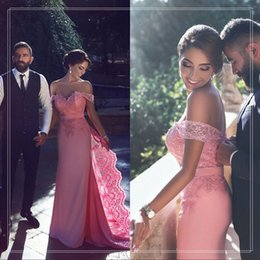 Wholesale Sexy Long Pink Prom Dresses Off The Shoulder Beaded Lace Prom Party Dress Arabic Formal Evening Gowns Custom Made