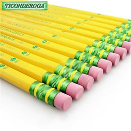Wholesale Dixon Ticonderoga pencil classical six angle yellow rod pencil with rubber HB H