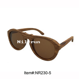 fashion unisex oval cat eye wooden sunglasses with brown polarizing lens