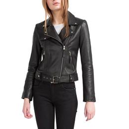 Desconto revestimento da motocicleta longas de couro Mulheres PU couro preto jaquetas de motocicleta casaco de manga comprida zipper bolsos slim jaqueta moda streetwear moda tops CT1345