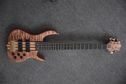 Compra Online Cuerdas custom shop-Guitarra baja de 5 cuerdas Tienda de guitarras personalizada Guitarra baja eléctrica Simth Tuner y puente de oro Bolt-on Top de arce acolchado de calidad