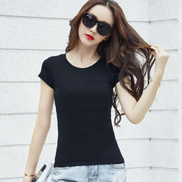Women Tshirts Top Selling 2017 Summer 7 Color S-XL Solid Cotton Elastic Short Sleeve O-neck Woman Casual Tops Tees Short Sleeve Tees Women