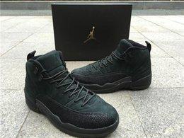 Wholesale Air Retros Jordan Retro12 OVO Black Mens Basketball Shoes Air J Jordans s Retros OVO Black US8 With BOX
