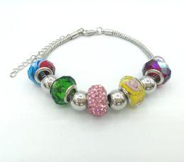 JLN European Beads Bracelet Snake chain Glass Crystal Spacer Roundel Charm Big Hole Beads Bracelet DIY Jewelry For Man Women