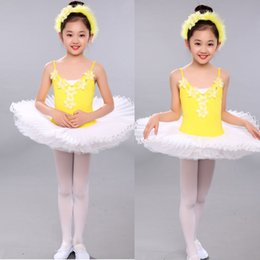Yellow Girls Sequined Leotard Dancewear Ballet Tutu dress Gymnastics Dance Dress Kids Performance Party Costume Outfits Stage wear dancing