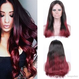 Ombre Full Lace Frontal 7A Peruvian Virgin Hair Silky Straight Human Hair 130%-150% Density 1B 99J Black+Burgundy Mixed 6-24 Inch