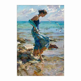 Wholesale by the beach woman in blue dress Pure Hand Painted Impressionism Portrait Art Oil Painting On Canvas customized size accepted welcome8