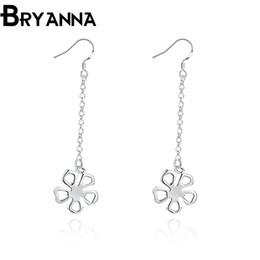 Bryanna 925 sterling silver dangling earrings for women Fashion Jewelry Wholesale Wedding Gifts Flower long drop earrings E2089