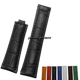 Promotion les brunes Livraison gratuite 20mm hommes / femmes de haute qualité brun / vert / bleu / noir / jaune / blanc / rouge Crocodile lignes bracelet en cuir véritable pour ROL