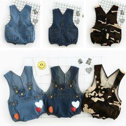 Bébé cowboy vêtements en Ligne-Cute Cowboy Imprimer Strap Jeans Shorts Summer Boy Garçon Vêtements Bébés Enfants Vêtements garçons pantalons 1043