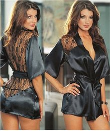 Compra On-line Preto cetim robes mulheres-1PCS Lingerie sexy quente Plus Size Cetim Lace Black Quimono Intimate Roupa de dormir Robe Sexy Night Gown Mulheres Sexy Erotic Underwear